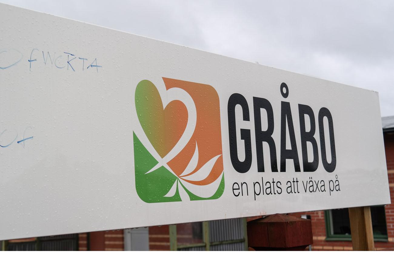 Skylt med texten Gråbo en plats att växa på