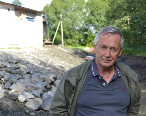 Lennart Lauenstein vid saneringsarbetet på Garveriet.
